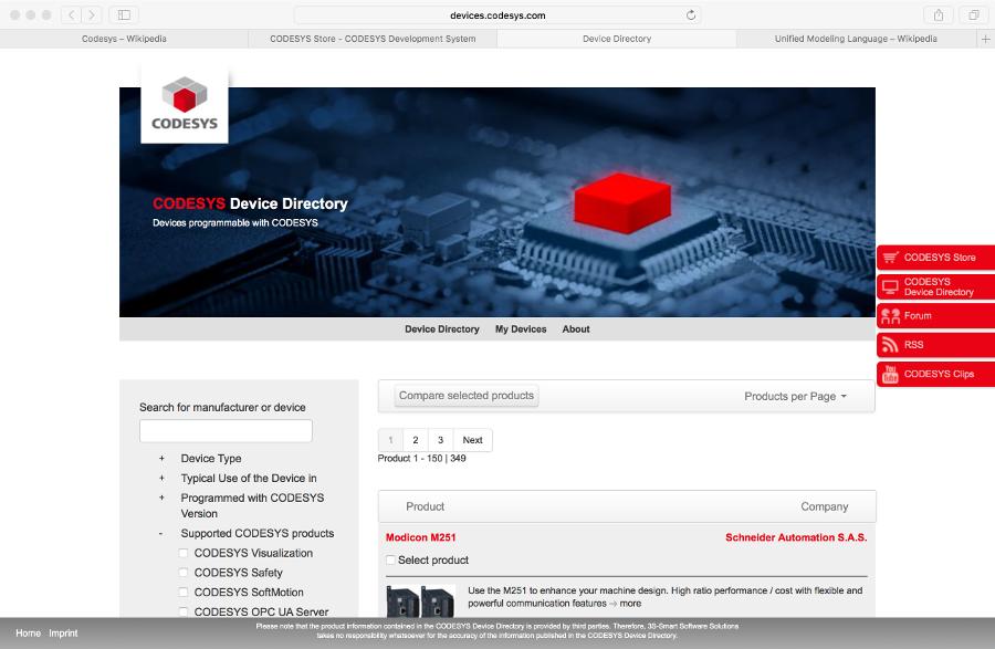 Screenshot des CODESYS Geräteverzeichnisses