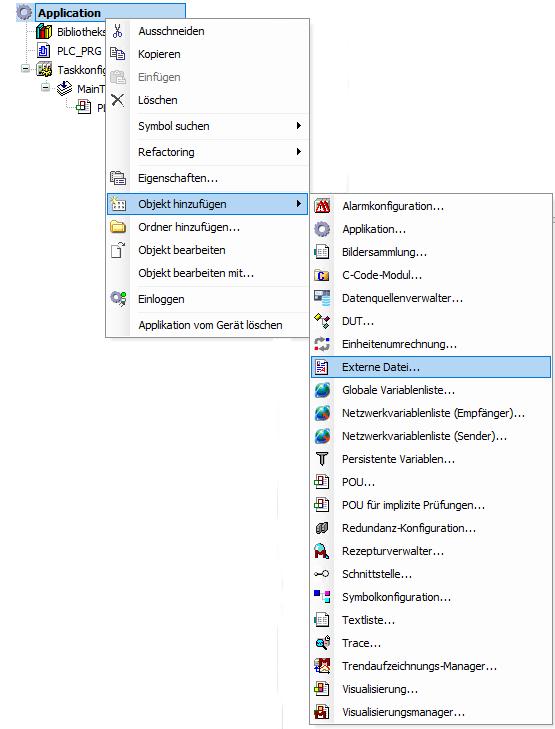 Hinzufügen von externen Dateien zu CODESYS Projekt
