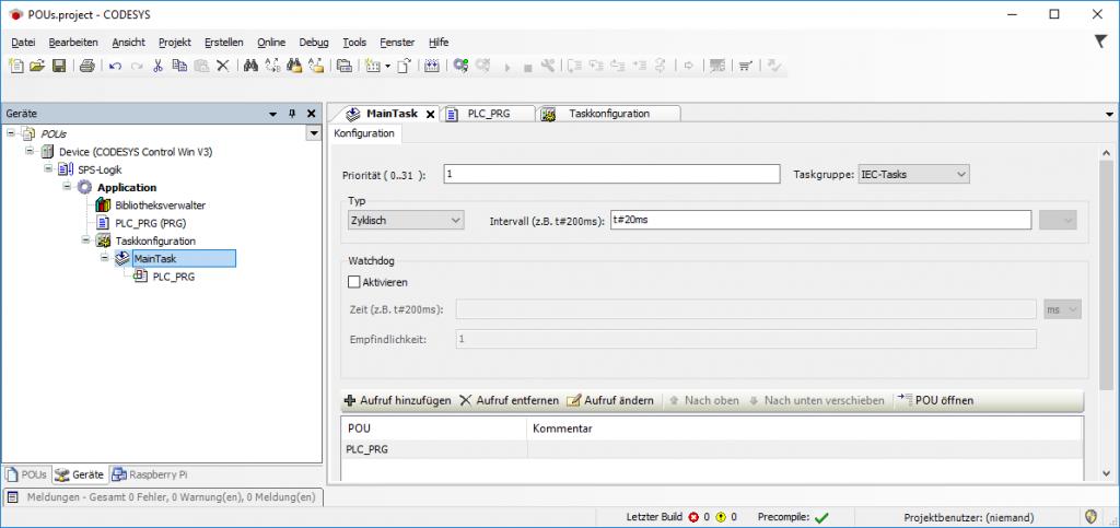PLC_PRG als POU hinzugefügt zum Taskmanager