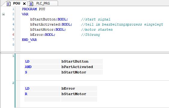 Beispielprogramm - Programmiersprache AWL