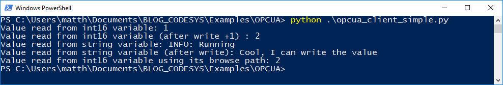 PowerShell: Python OPC UA-Client