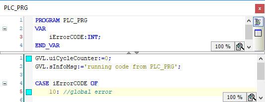 CODESYS POU: Hellblaue Markierung eines Lesezeichens im Code Editor
