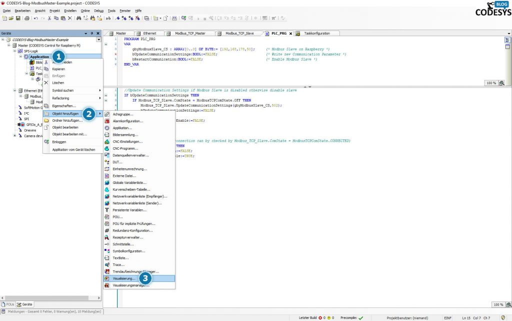 Notwendige Schitte in CODESYS um eine Visualisierug im Prjekt zu integrieren