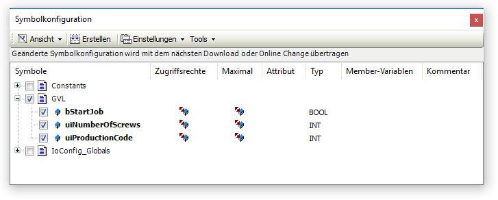 Symbolkonfiguration - OPC-UA Variablen